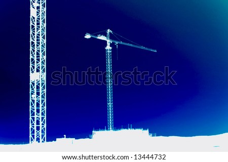 cranes shadow blue background