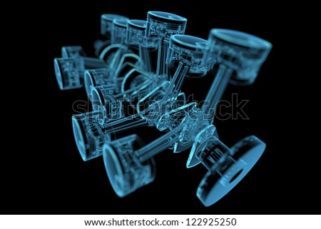 Crankshaft (3D xray blue transparent)