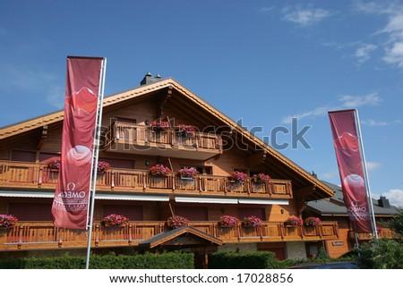 CRANS-MONTANA, SWITZERLAND, SEPTEMBER 2 - chalets in Crans-montana, Switzerland,  Golf Omega European Masters, tuesday september 2, 2008,