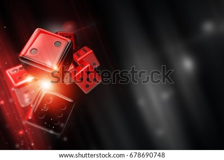 Shutterstock Craps, Big Six Wheel, Pai Gow or Sic Bo Casino Dice Game Concept. 3D Rendered Illustration with Red Dices and Right Side Copy Space.