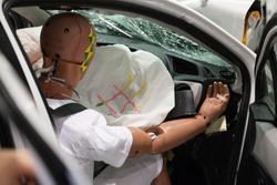 Crash Test Dummies in a car after a Crash Test.