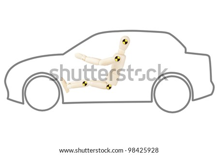 Crash test dummy in car outline on a white background