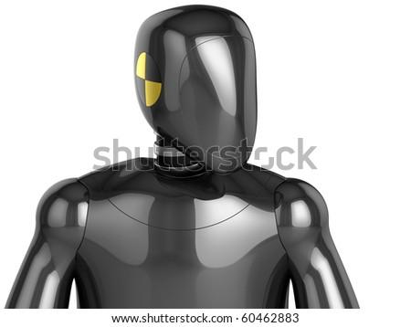 crash test dummy metallic head and top part of his torso second viewport 3d render hi res. Black Bedroom Furniture Sets. Home Design Ideas