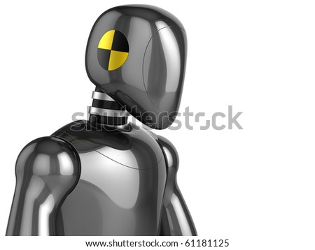 Crash Test Dummy metallic head and top part of his torso. Sixth viewport. 3D render (Hi-Res). Isolated on white