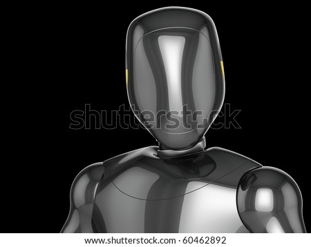 Crash Test Dummy metallic head and top part of his torso. Third viewport. 3D render (Hi-Res). Isolated on black