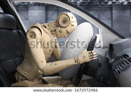Crash test with 3d rendering dummy hit with air bag  Photo stock ©