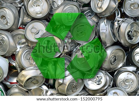Crashed Beer Cans And Recycling Sign. Waste Recycling.