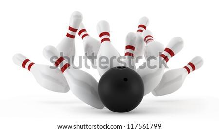 crashed bowling skittles - 3d render on white