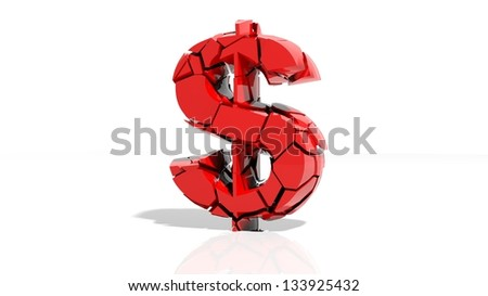 Crashed dollar symbol broken into tiny pieces - Shutterstock ID 133925432