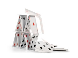 Crashed house of cards. Falling cards isolated on white, clipping path included