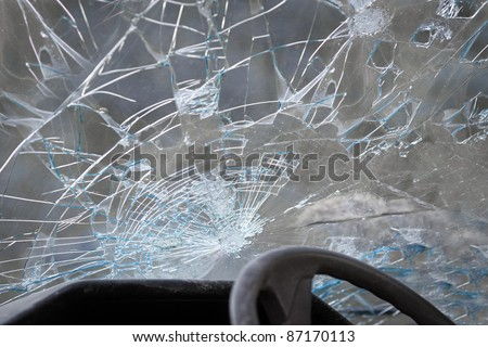 Crashed windshield seen from inside the vehicle