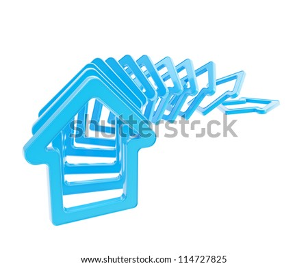 Crashing real estate market: queue line of blue glossy house emblems falling down as domino effect isolated on white background