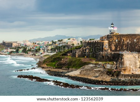 Shutterstock Crashing surf on the beach at El Morro Fortress, San Juan, Puerto Rico