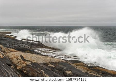 Crashing Wave on Maine Shoreline - USA
