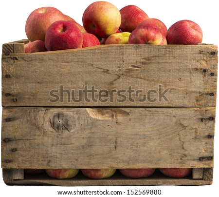 Crate Full Of Apples Isolated On White Background.