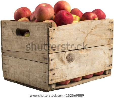 crate full of apples isolated on white background. #152569889