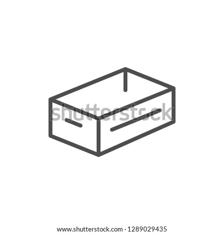 Crate line icon isolated on white