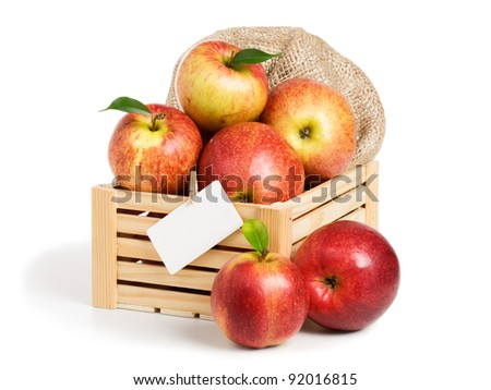 Crate of Jonagold apples with an empty card