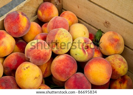 Crate of peaches