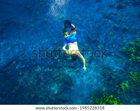 Crater Azul, Petén, Guatemala, the clear water in this paradise place are perfect, no more words needed Foto stock ©