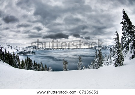 Crater Lake in Winter with snow