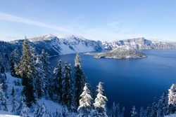 Crater Lake National Park in the Winter