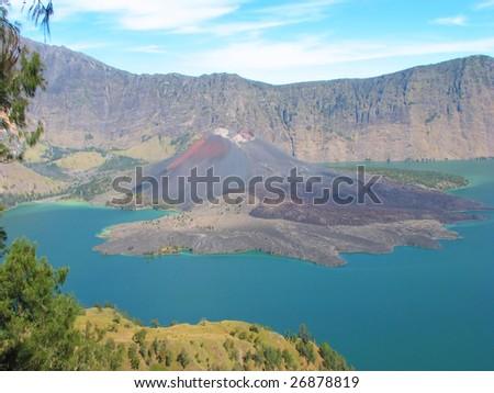 Crater lake of Mount Rinjani, Lombok, Indonesia