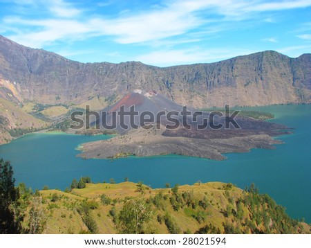 Crater lake of Mount Rinjani, Lombok, Indonesia - stock photo