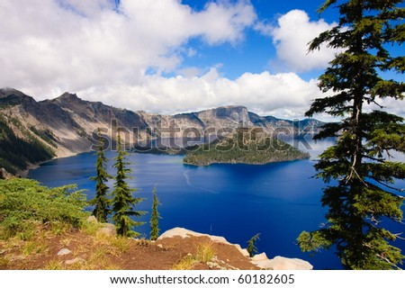 Crater Lake, Oregon, a caldera left from a gigantic volcanic explosion