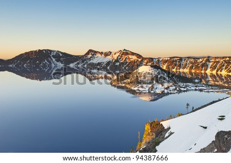 Crater Lake, Oregon, United States of America. Lake form from destroy volcano.