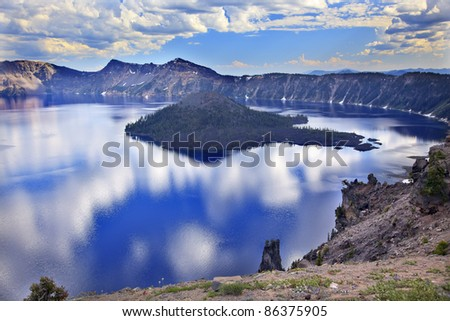 Crater Lake Reflection, Wizard Island, Clouds Blue Sky Oregon Pacific Northwest