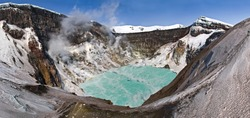 Crater of Gorely volcano with an acid lake that is no longer there. Kamchatka peninsula, April 2009.