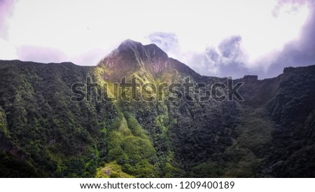 Crater of Mount Liamuiga, inactive volcano on Saint Kitts and Nevis in the Caribbean