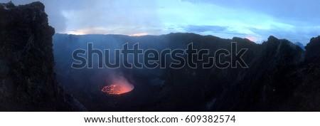 Crater of nyiragongo volcano in eruption