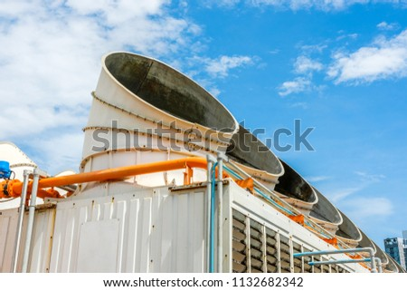 Crater of the cooling tower in the cooling system of the building with the sky backdrop. #1132682342