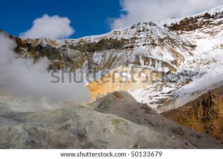 crater of the volcano Mutnovsky on Kamchatka