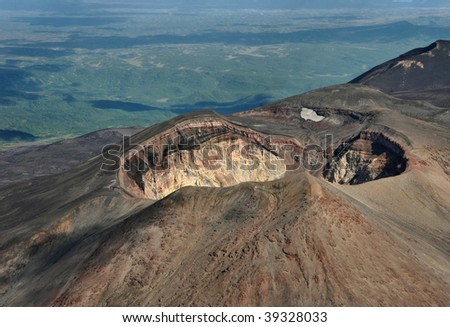 crater of volcano Maly Semiachik - stock photo