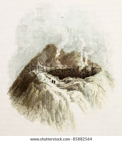 Crater old illustration. Created by De Wint and Pye, printed by McQueen, publ. in London, 1821. Ed. on Sicilian Scenery, Rodwell and Martins, London, 1823