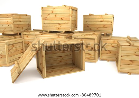 crates isolated on white