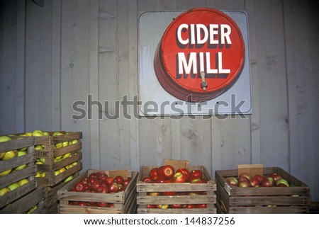 Crates of apples in a warehouse in Archibald, OH