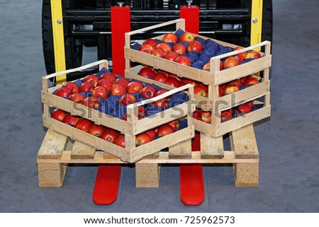 Crates With Apples at Foklift Pallet #725962573