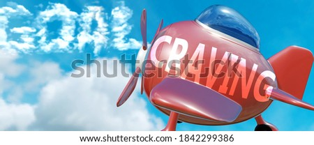 Craving helps achieve a goal - pictured as word Craving in clouds, to symbolize that Craving can help achieving goal in life and business, 3d illustration Photo stock ©