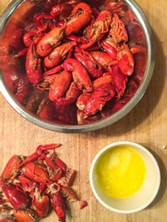 Crawfish in a Bowl with a Side of Butter