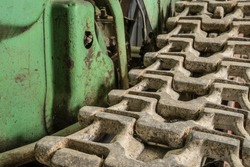 crawler chain detail of a historic tractor