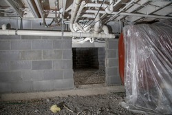 crawlspace basement oil tank and plumbing