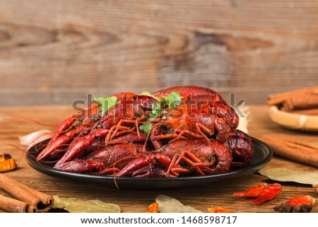 Crayfish. Red boiled crawfishes on table in rustic style,  Lobster closeup.  ストックフォト ©