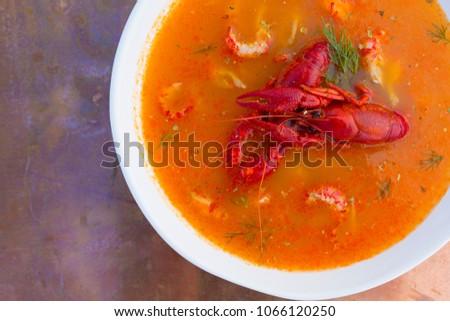 Crayfish soup on a vintage background. #1066120250