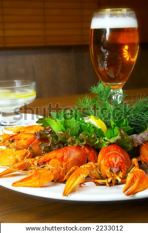 Crayfishs with beer on a table at restaurant.