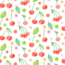 Crayon cherry with leaves seamless pattern. Hand drawn artistic fruit repeatable background with pastels. Cute Colorful stylish illustration for backgrounds, textiles, tapestries.