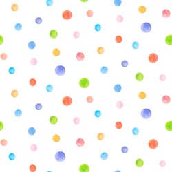 Crayon dots seamless pattern. Hand drawn artistic circle repeatable background with pastels. Cute Colorful stylish illustration for backgrounds, textiles, tapestries.